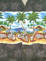 Kys Mens Hawaiian Shirt Button Down Motorcycle Beach Print Short Sleeve Size 3XL
