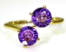 Glenn Lehrer Quasarcut Amethyst Duo 9ct Yellow Gold ring N 1/2 ~ 7