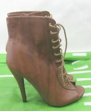 """Tan 4.5"""" Stiletto High Heel Open Toe Lace Up Sexy Ankle Boots Size 7"""