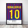 Ronaldinho Barcelona Football Gift Framed Shirt Poster