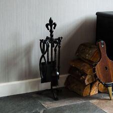 5 Piece Fleur De Lys Fire Companion Set Black Fireplace Tools By Home Discount