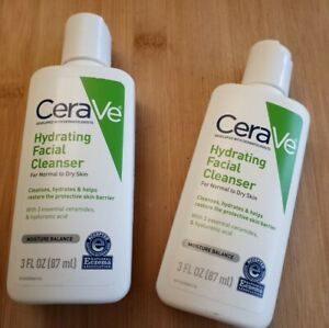 💋CeraVe Hydrating Facial Cleanser for Normal to Dry Skin 3oz ( Lot of 2 ) New
