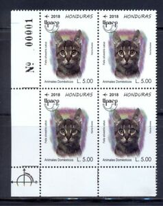 Honduras. UPAEP new issue of 2018. Cat (Felis silvestris catus) block of 4. MNH