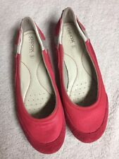 GEOX Respira Pink Leather Fabric Slip On Casual Shoes Size Sz 39 U.S. 9 M