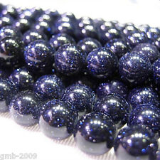Wholesale Natural Blue Sand Spot Round Gemstone Loose Spacer Beads Stone 8MM