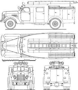 1953 PMZ 9m Tanker - Fire Truck - Blueprint Poster