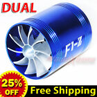 "2.5""-2.9"" Air Intake Dual Fan TURBO Supercharger Turbonator Gas Fuel Saver BLUE"