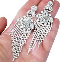 Clear Rhinestone Drop Earrings Bridesmaid Prom Pageant Jewelry 3.5 inch