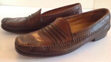 Vintage Pelle Lines Brown Leather Mens Shoes 11 M Spain 7720 Loafers Slip On