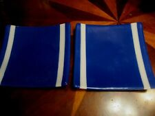 """Set of Matching Handmade Fused Glass Powder Plate 8"""" X 8 1/2 Rectangle"""