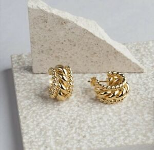 Gold Colour Link Chain Thick Hoop Earrings