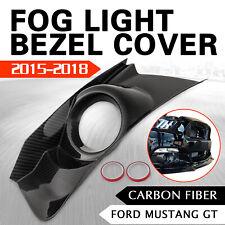 Carbon Fiber Front Bumper Fog Light Grille Bezel Cover For Ford Mustang GT 15-17