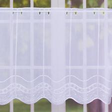 Bistro- Scheibengardine Stickerei Voile halbtransparent nähfrei weiß 55cm Höhe