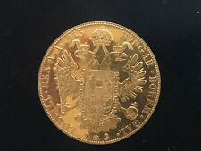 1915 Austrian 4 Ducat GOLD COIN RE STRIKE WITH BEZEL & BALE AU-BU COIN