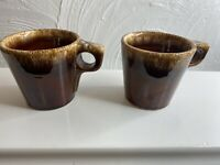 VINTAGE Hull Pottery Brown Drip Glaze Coffee Mugs Cups Oven Proof Set Of 2