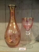 Pink /Peach Coloured & Frosted Glass Decanter With Wine Glass Crystal No Stopper