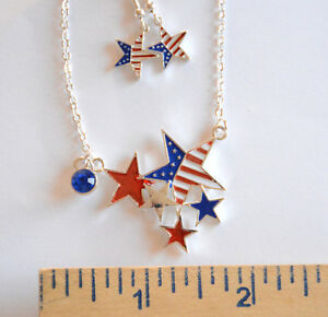 American Patriotic Necklace &  Earrings / Red ~ White & Blue Stars / Silver-tone