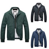 Men Slim Zipper Coat Long Sleeve Bomber Biker Jacket Autumn Outwear Tops Fashion