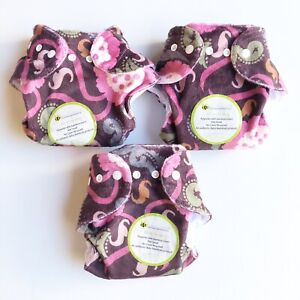 3 x BRAND NEW Baby BeeHinds Cloth Nappies All In One Small Bamboo Insert Floral