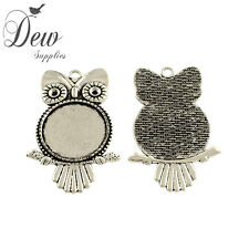 5 x Owl  pendant tray Cabochon Settings Antique Silver bezel jewellery