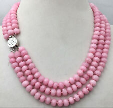 Beads Necklace 3 Row 18-20'' Huge 5x8mm Natural pink Rhodochrosite Faceted