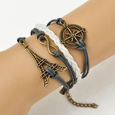 New Wristband Compass Eiffel Tower Infinity Fittings Friendship Bracelet 17-22CM