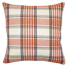 "Tartan Orange, Cream & Brown 18"" Cushion Cover Soft Tweed Check Fabric"