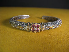 BRACELET BARBARA BIXBY 18K SS CUFF BANGLE PINK TOURMALINE FLOWER DIAMOND CARVED