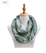 "Infinity Scarf - Waves of Green polyester - honeycomb weave 25""w x 70""long"