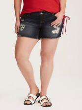 TORRID Ripped Dark Wash Flag Inset Skinny SHORTS Plus Size 24 NWT $45 KG01