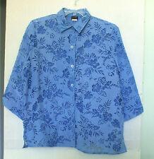 Salon Studio Size L Button Front Blue Floral Burnout Blouse, 3/4 sleeves