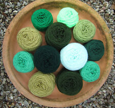 Mixed BALLS CRAFT PACK. GREEN MIX.  DK knitting/crochet YARN. 220g +. CRAFTS