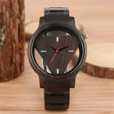 Black Wood Watch Men Hollow Triangle Shape Dial Watches Casual Wooden Strap
