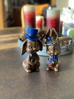Vintage Porcelain Ceramic Bunny Rabbit Husband Wife Spring  Figurines