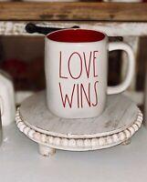 Rae Dunn LOVE WINS White Red interior Valentine Mug  LL BY Magenta RARE NEW