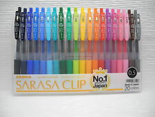 20 Colors NEW ZEBRA SARASA Clip 0.5mm Fine Gel Ink Roller ball Pen w/case(Japan)