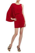 BCBG Maxazria $268 Red Venus Draped Ruched Dress XS 0 2 EUC