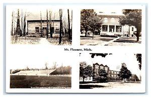 c1930s Mt Pleasant, MI RPPC Postcard Multiview GREETINGS - DOPS Isabella County