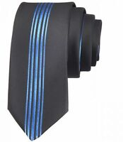 NEW ITALIAN DESIGNER BLACK / BLUE STRIPE SILK TIE