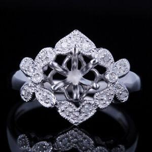 6.5mm Round Engagement Wedding Semi Mount Natural SI Diamond Ring 10K White Gold