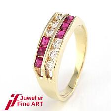Ring mit 6 Brillanten ca. 0,26 ct W/SI-P +  6 Rubin-Karrées - 2,9 g - Gr. 53