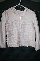 *Design History* 4-5 pink confetti long slv ruffled hooded button shirt top EUC