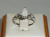Hand Made Ladies 925 Solid Fine Silver Marquise Cut Opal & White Sapphire Ring