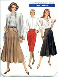 Uncut Vogue Sewing Pattern Ladies Back Zip Tapered Flared Skirts Size 6-10