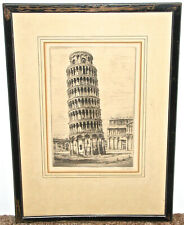 Paul Geissler Signed Etching Leaning Tower of Pisa