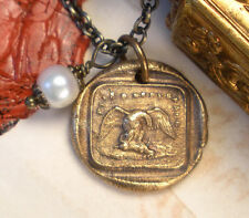 Hope Persevere Eagle Hare French Bronze Pendant Charm Necklace Wax Seal Jewelry
