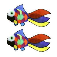 2x Rainbow Flying Fish Kite Windsock Windmill Outdoor Play Toy Garden Decor