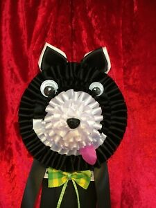 LARGE Dog Face rosette, award ribbon, prize personalise with your text