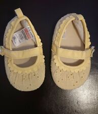 💝 Bambini Baby Girls Yellow Lace Soft Shoes Booties age 6-12 Months. Cute! 💝.