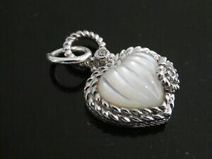 Judith Ripka Carved MOP HEART & Diamonique CZ Sterling Silver Charm Pendant